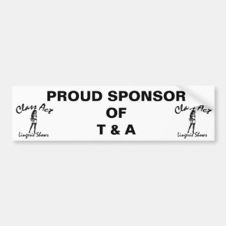 CLASS ACT SUPPORTER BUMPER STICKER