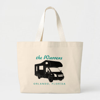 Class C Motorhome Silhouette Graphic Large Tote Bag