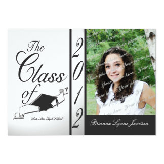 Class Graduation 2012/ Black 13 Cm X 18 Cm Invitation Card