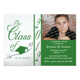 Class Graduation 2012/ green 13 Cm X 18 Cm Invitation Card