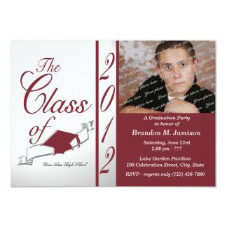 Class Graduation 2012 Maroon 13 Cm X 18 Cm Invitation Card