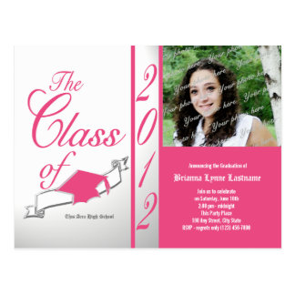 Class Graduation 2012 Pink Postcard