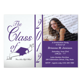 Class Graduation 2012 Purple 13 Cm X 18 Cm Invitation Card