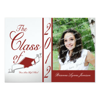 Class Graduation 2012/ Red 13 Cm X 18 Cm Invitation Card