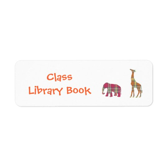 Class Library Book Plate Return Address Label