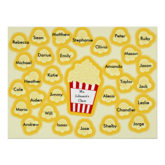 Class Names Popcorn Teacher Poster - Fits 30 Names