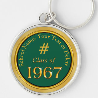 Class of 1967 Reunion Gifts Your COLORS and TEXT Silver-Colored Round Key Ring