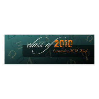 Class of 2010 ~ Greek alphabets profile card Pack Of Skinny Business Cards