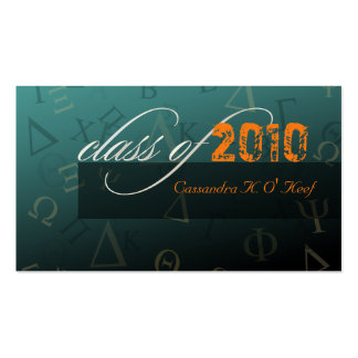 Class of 2010 ~ Greek alphabets profile card Pack Of Standard Business Cards