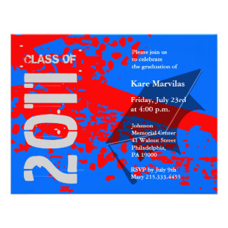 Class of 2011 Invitation ABRB234 Red Blue Abstract