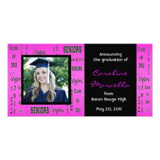 Class of 2011 Seniors Hot Pink Grad Announcement Photo Card