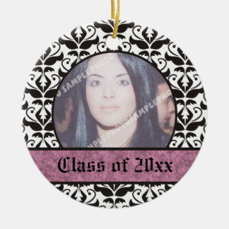 Class of 2012 Grad Graduation damask photo Round Ceramic Decoration