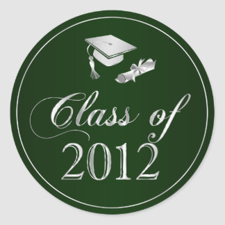 Class of 2012 Graduation Cap & Diploma Seals Round Sticker
