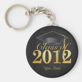 Class of 2012 Graduation Key-Chain (blk & gold) V1 Basic Round Button Key Ring