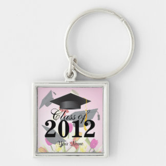 Class of 2012 Graduation Key-Chain Pink Silver-Colored Square Key Ring