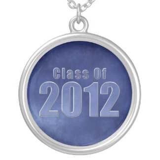 Class of 2012 Graduation Necklace Blue Grunge