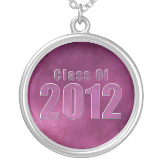Class of 2012 Graduation Necklace Purple Grunge
