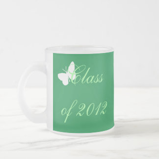 Class of 2012 - Green and White Butterfly Frosted Glass Mug