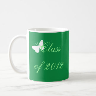 Class of 2012 - Green and White Butterfly Basic White Mug