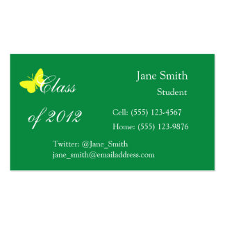 Class of 2012 - Green and Yellow Butterfly Business Card