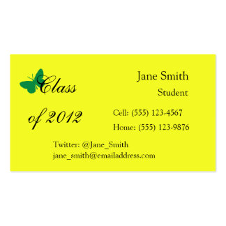 Class of 2012 - Green and Yellow Butterfly Business Card Template