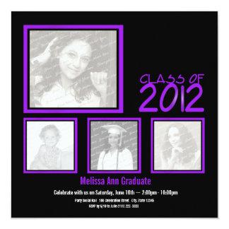 Class of 2012 Neon Purple Graduate Quad Photo Card