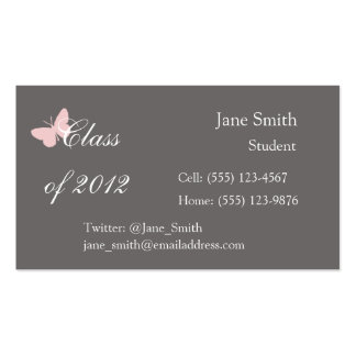 Class of 2012 - Pink and Grey Business Card Template