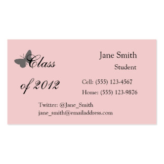 Class of 2012 - Pink and Grey Business Card Templates