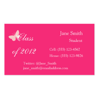 Class of 2012 - Pink Butterfly Business Card Templates