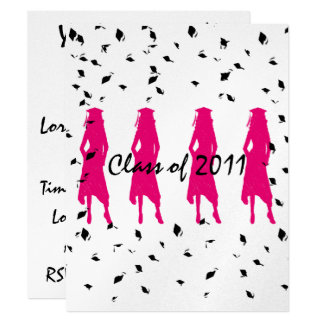Class of 2012 Pink Grad Silhouettes with Tassle 11 Cm X 14 Cm Invitation Card