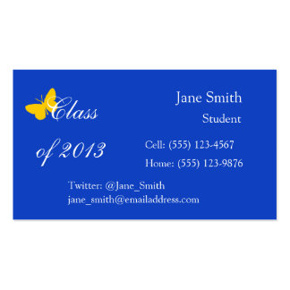 Class of 2013 - Blue and Gold Butterfly Double-Sided Standard Business Cards (Pack Of 100)