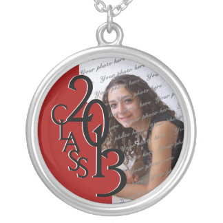 Class of 2013 Grad Photo Red Silver Plated Necklace