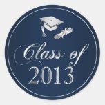 Class of 2013 Graduation Cap & Diploma Seals Round Sticker