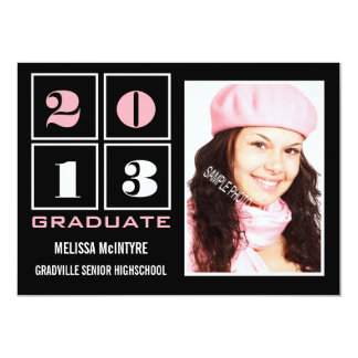 Class of 2013 Large Photo Pink and Black Custom Invitation