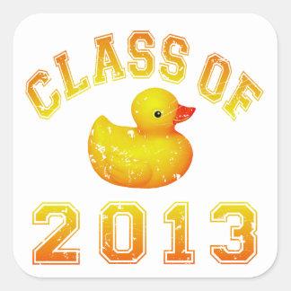 Class Of 2013 Rubber Duckie - Yellow/Orange Square Sticker