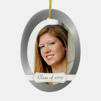 Class of 2014 Graduation Keepsake w/ Your Photo Double-Sided Oval Ceramic Christmas Ornament