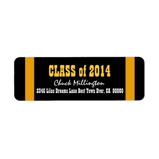 Class of 2014 or ANY YEAR Gold Stripes V008 Return Address Label