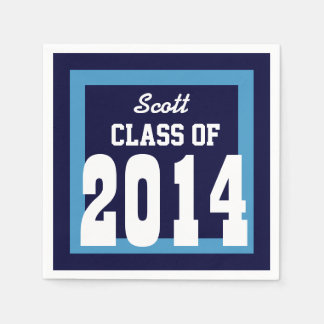 Class of 2014 or Any Year Graduation V01 BLUE Paper Serviettes