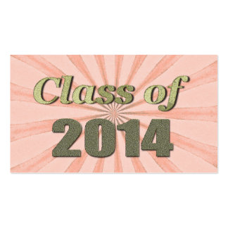Class of 2014 Peach Sunburst and Gold Words Pack Of Standard Business Cards