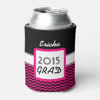 Class of 2015 ANY YEAR Custom Name Pink Chevrons 6 Can Cooler