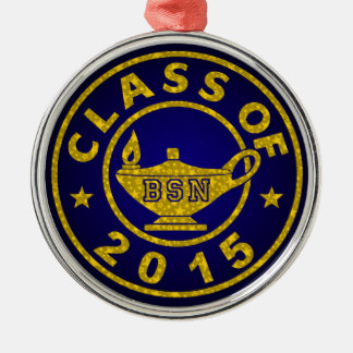 Class Of 2015 BSN Silver-Colored Round Decoration