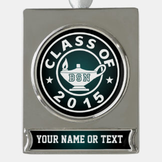 Class Of 2015 BSN Silver Plated Banner Ornament