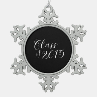 Class of 2015 Chalkboard Style Vintage Snowflake Pewter Christmas Ornament