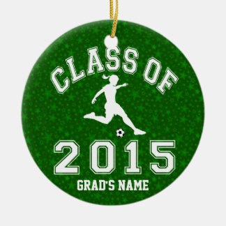 Class Of 2015 Girl Soccer Round Ceramic Decoration