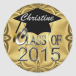 Class Of 2015 Gold Graduation Seals Round Sticker