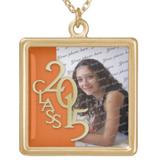 Class of 2015 Grad Photo Orange Gold Gold Plated Necklace