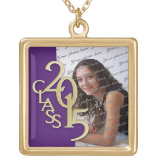 Class of 2015 Grad Photo Purple Gold Square Pendant Necklace