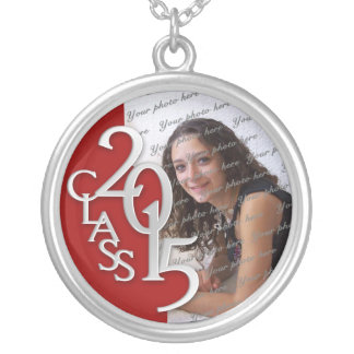 Class of 2015 Grad Photo Red Silver Round Pendant Necklace