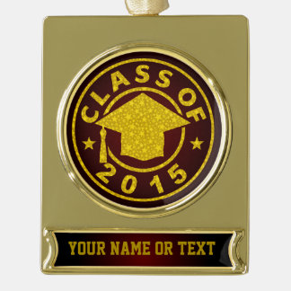 Class Of 2015 Graduation Gold Plated Banner Ornament