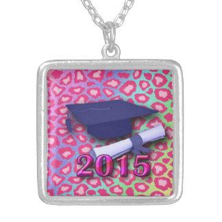 Class of 2015 pendant, hot pink leopard print